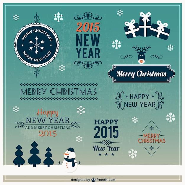 Retro Weihnachten Design Elemente Download Der