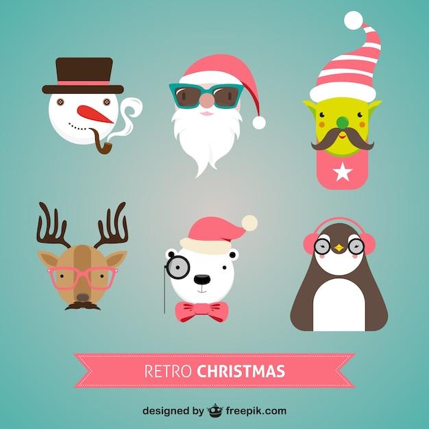 Retro weihnachten zeichen Kostenlosen Vektoren