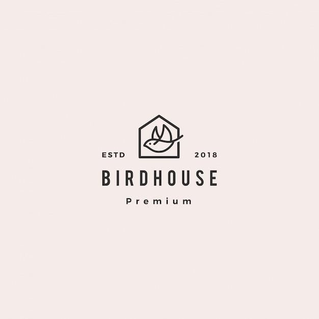 Retro- weinlese des vogelhauslogohippies Premium Vektoren