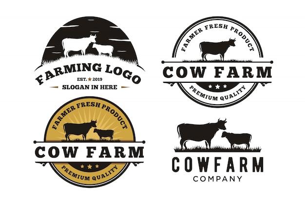 Retro weinlese-vieh-rindfleisch-aufkleber-emblem logo design Premium Vektoren