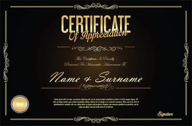 Retro- weinlesedesignschablone des zertifikats oder des diploms Premium Vektoren