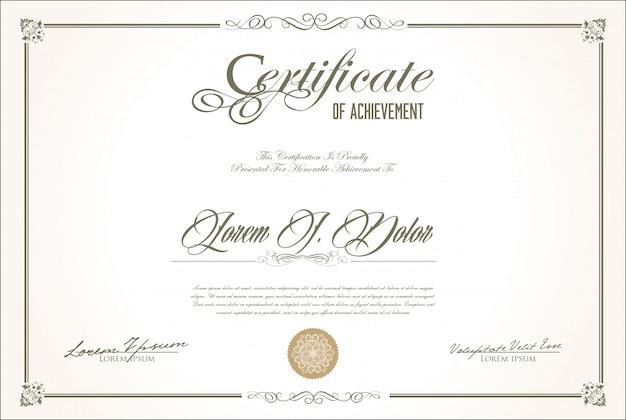 Retro- weinleseentwurf des zertifikats oder des diploms Premium Vektoren