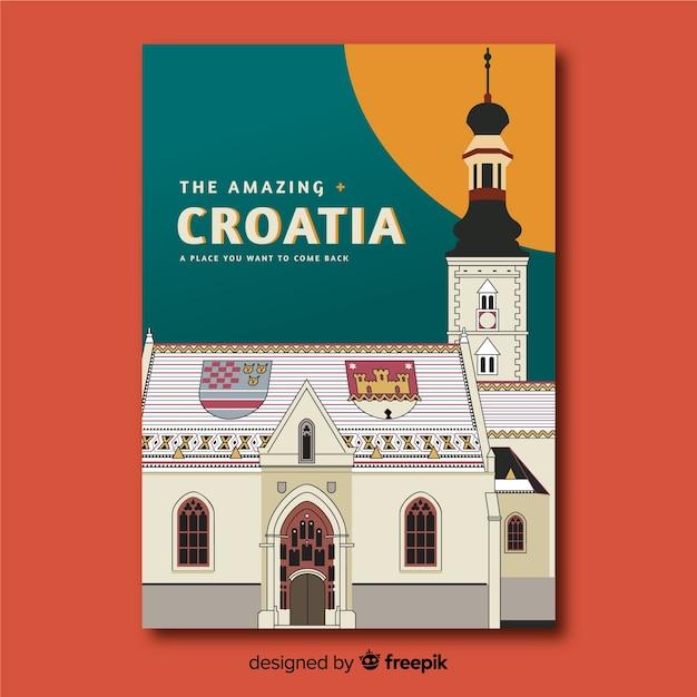 Retro werbeplakat von kroatien Kostenlosen Vektoren