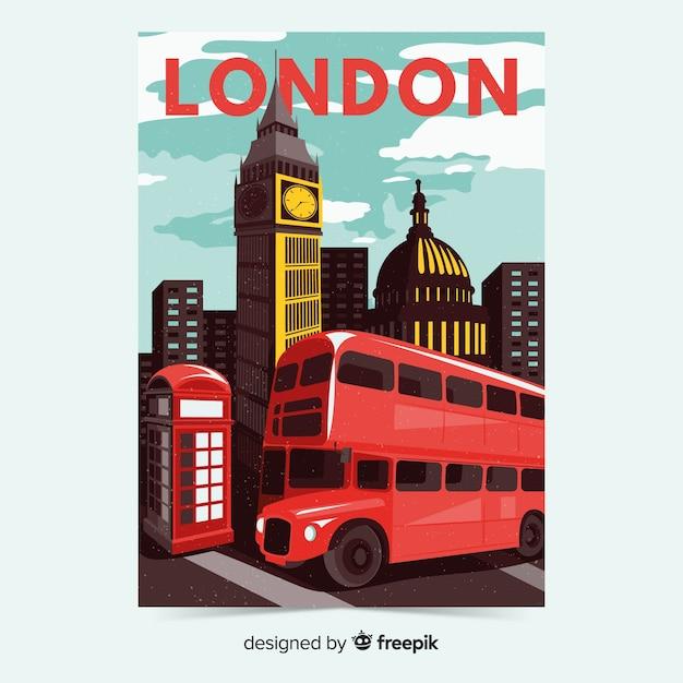 Retro werbeplakat von london vorlage Kostenlosen Vektoren
