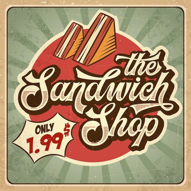 Retro- werbungsrestaurantzeichen für sandwichshop. vintage-stil Premium Vektoren