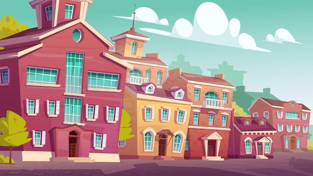 Retro- wohngebäude der städtischen straßenlandschaft Kostenlosen Vektoren