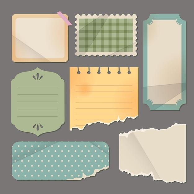 Retro zerrissenes papier und etiketten Premium Vektoren
