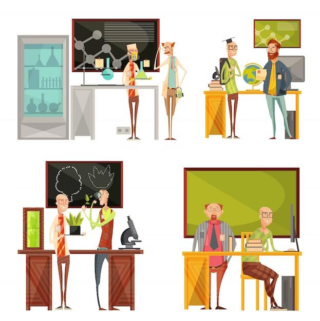 Retro- zusammensetzungen mit unterhaltungslehrern der chemie, der biologie, der geographie nahe schreibtisch und der tafel lokalisierten vektorillustration Kostenlosen Vektoren