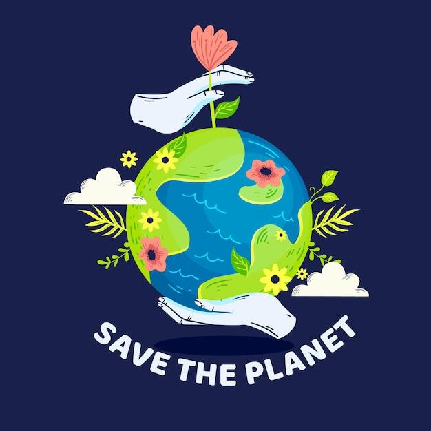 Rette das planetenkonzept mit blumen und vegetation Kostenlosen Vektoren