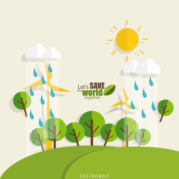 Rette die welt tag sonne, regen und bäume Kostenlosen Vektoren