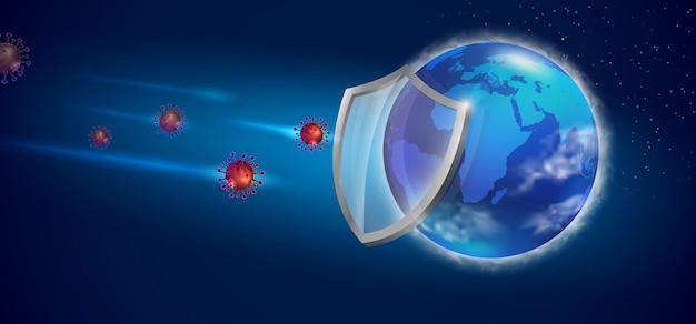 Rette die welt, um das covid 19-virus zu verhindern. realistische datei. Premium Vektoren