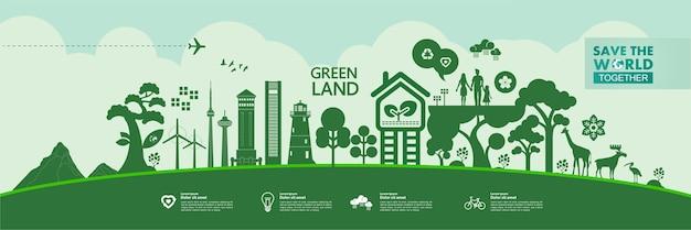 Rette die welt zusammen grüne ökologieillustration. Premium Vektoren