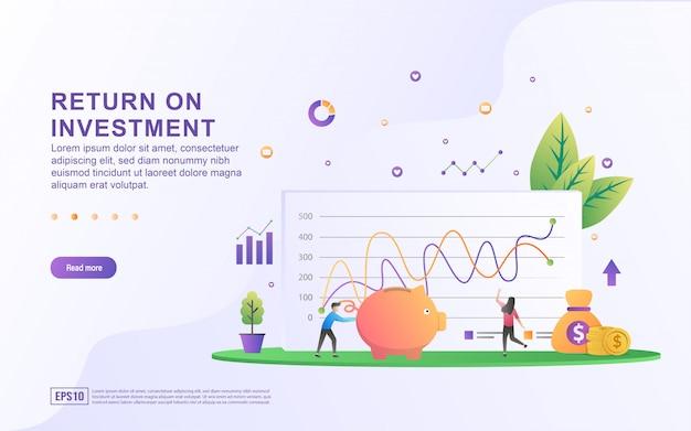 Return on investment illustration konzept. leute, die finanzdiagramm, profiteinkommen, finanzwachstum steigt bis zum erfolg handhaben. Premium Vektoren