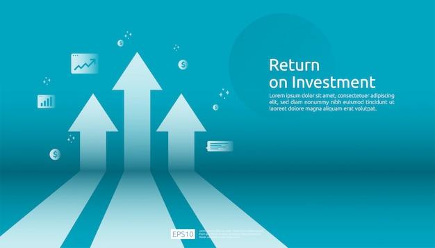 Return on investment roi, gewinnchance-konzept. geschäftswachstum pfeile zum erfolg. pfeil mit dollar-pflanze münzen, grafik und grafik zu erhöhen. Premium Vektoren