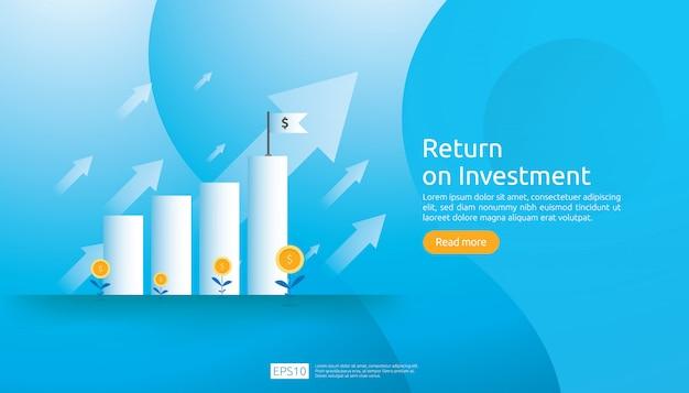 Return on investment roi-webvorlage Premium Vektoren