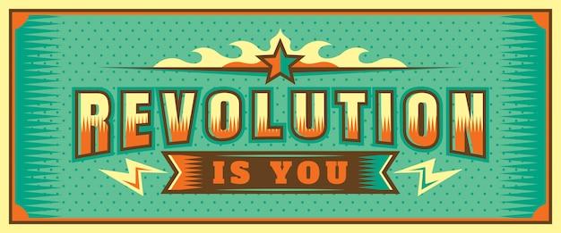 Revolution ist, dass sie banner-design beschriften Premium Vektoren
