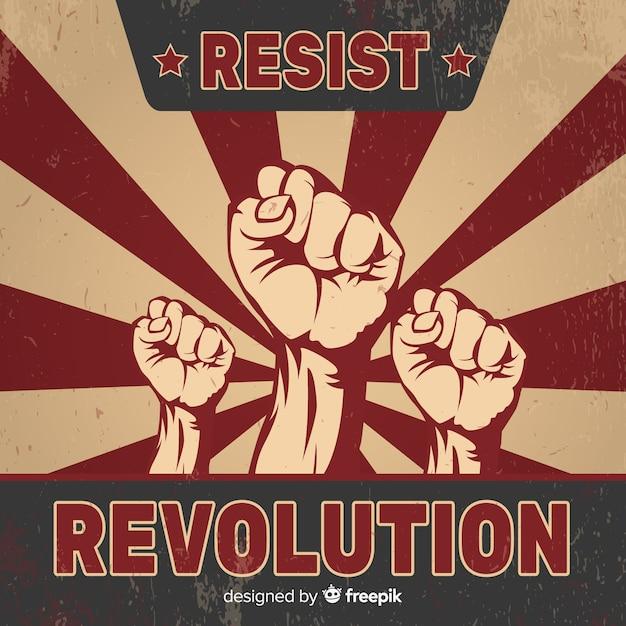 Revolution komposition mit vintage-stil Kostenlosen Vektoren