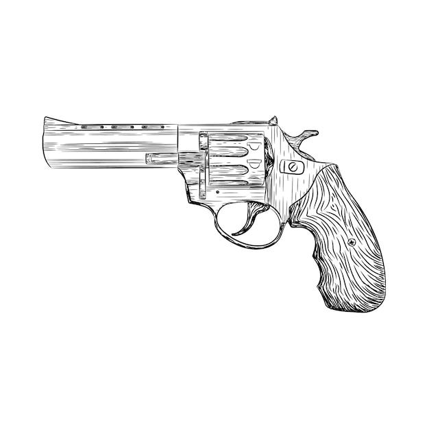 Revolver-pistole-vektor-illustration Premium Vektoren