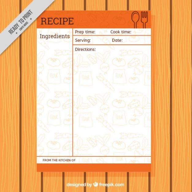 Rezept-Vorlage mit Lebensmitteln Zeichnungen   Download der ...
