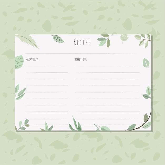 Rezeptkarte mit Blättern Hintergrund   Download der Premium Vektor