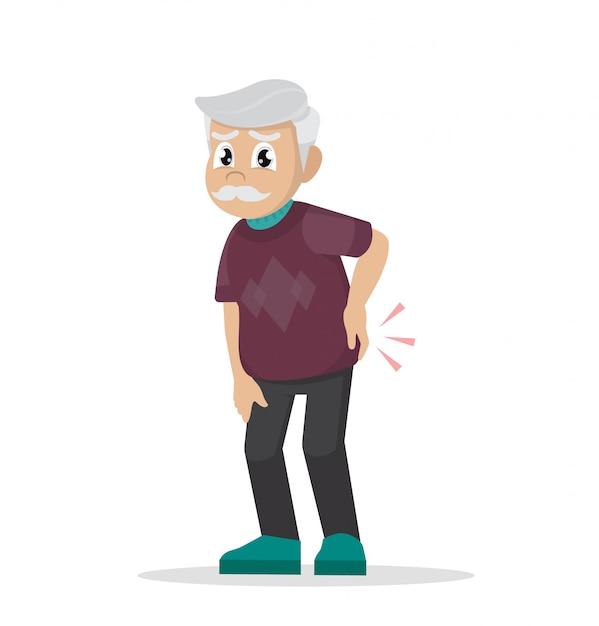 Rheuma. rückenschmerzen. großvater hält seinen rücken. Premium Vektoren
