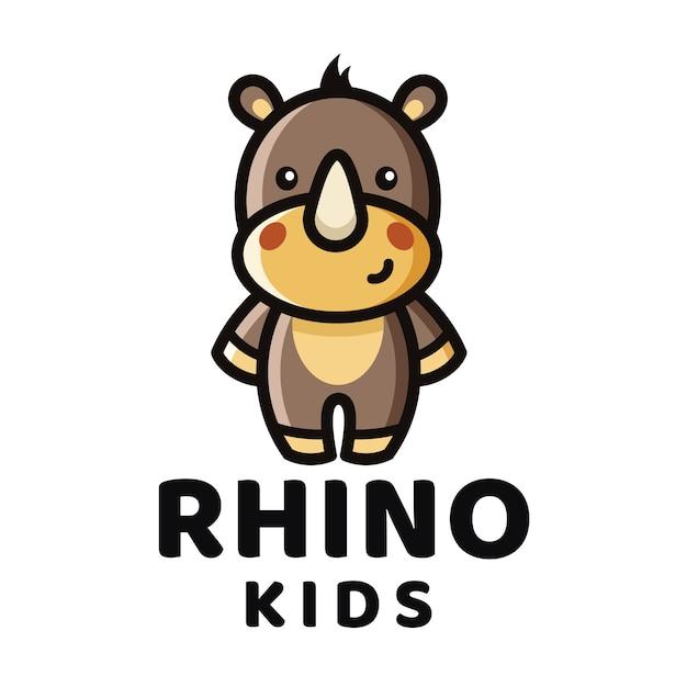 Rhino kids logo vorlage Premium Vektoren