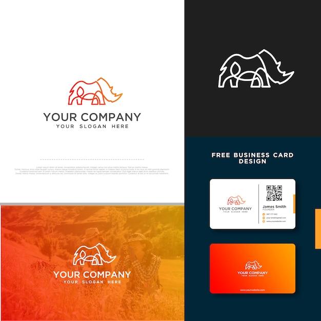 Rhino-logo mit gratis-visitenkarte Premium Vektoren