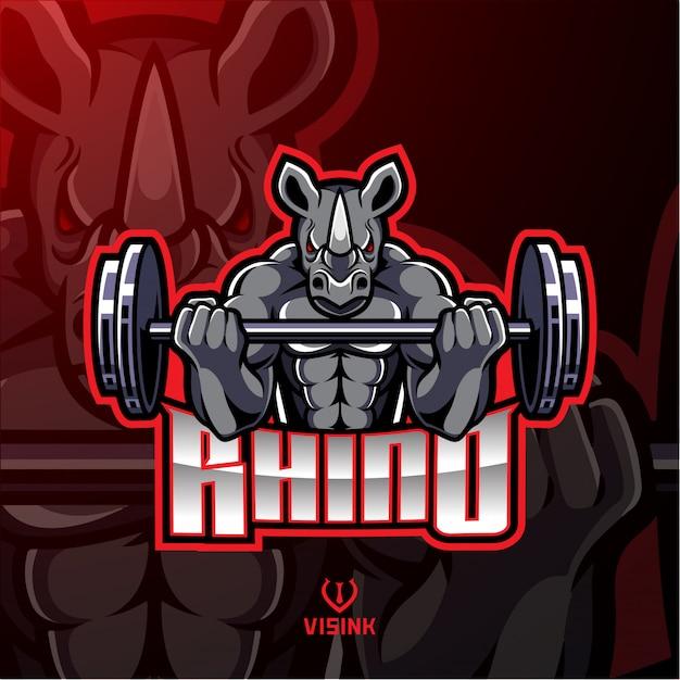 Rhino muscle barbel maskottchen design Premium Vektoren