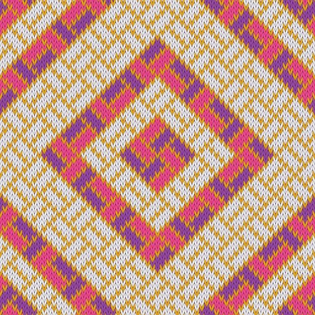 Rhombisches wolliges gemütliches gestricktes nahtloses muster mit goldenen streifen Premium Vektoren