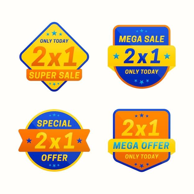 Ribbon 2x1 sonderangebot etikettensammlung Premium Vektoren