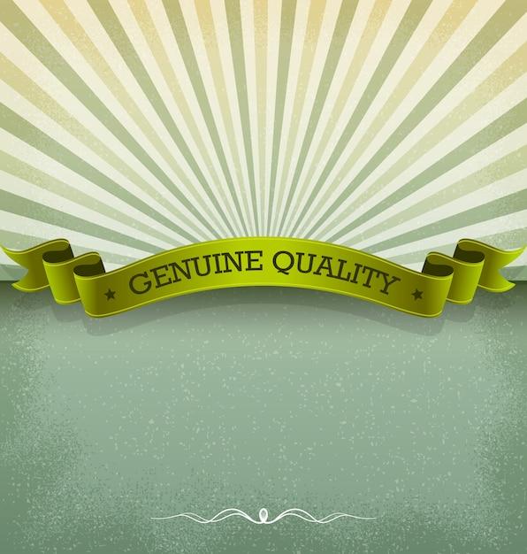 Ribbon banner mit sunburst Premium Vektoren