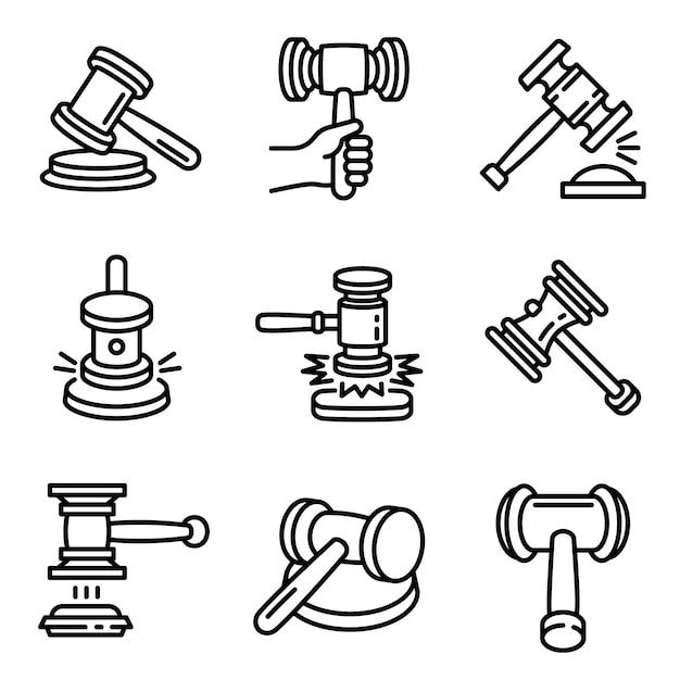 Richter hammer-icon-set. entwurfssatz richterhammer-vektorikonen für das webdesign lokalisiert Premium Vektoren