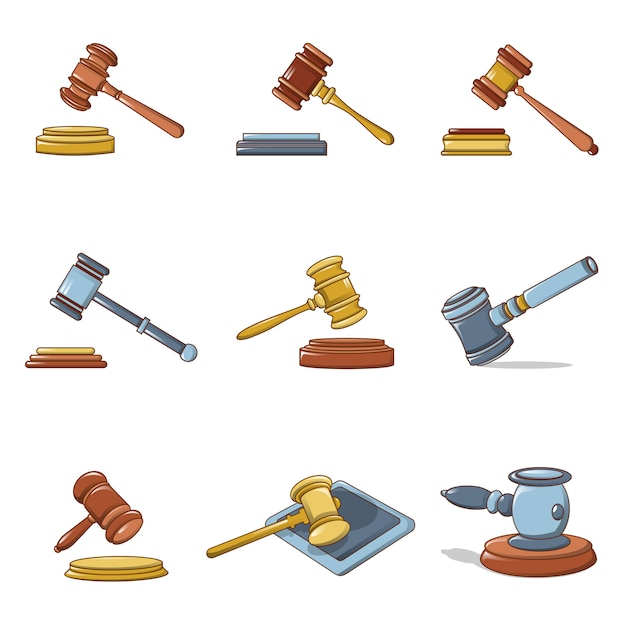 Richter hammer icons set Premium Vektoren