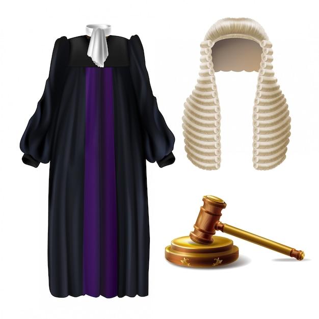 Richter zeremonielle kleidung und holzhammer Kostenlosen Vektoren