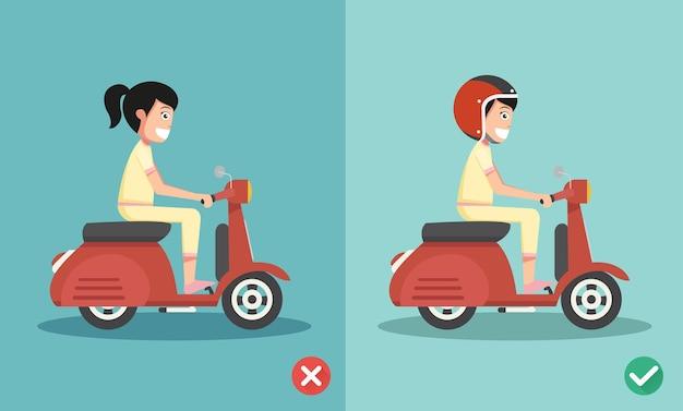 Richtige und falsche fahrweise, um autounfälle zu vermeiden Premium Vektoren