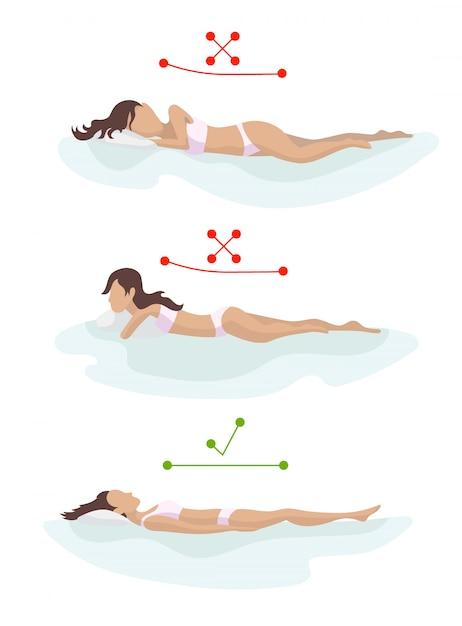 Richtige und falsche schlafkörperhaltung. positionieren sie den rücken in verschiedenen matratzen. orthopädische matratze und kissen. Premium Vektoren
