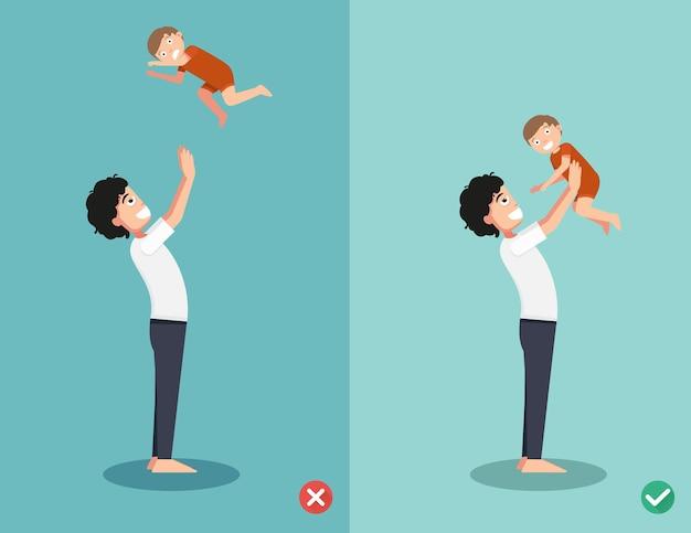 Richtige und falsche spielweisen mit dem baby Premium Vektoren