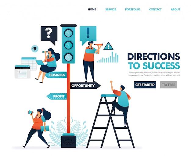 Richtung für den erfolg in karriere und geschäft, verkehrszeichen, warnungen und anweisungen. Premium Vektoren