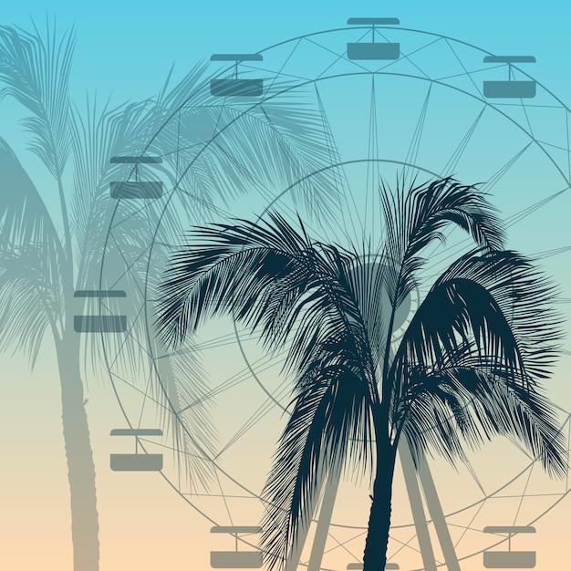 Riesenrad- und palme-schattenbildhintergrund Premium Vektoren
