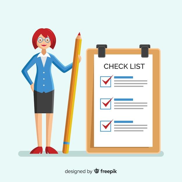 Riesige checkliste der frauencheckliste Kostenlosen Vektoren