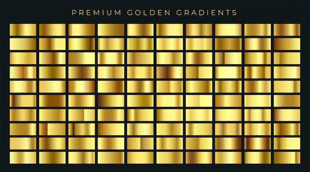 Riesige große sammlung von goldenen farbverläufen hintergrund farbfelder Premium Vektoren