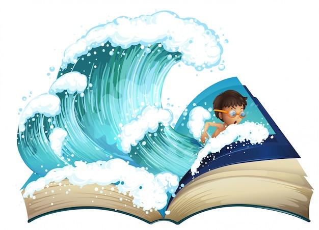Riesiges buch mit jungenschwimmen im ozean Kostenlosen Vektoren