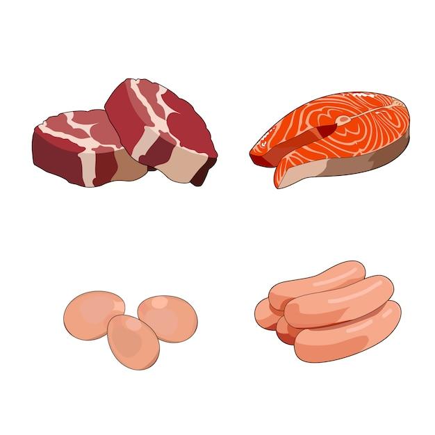 Rinderfleischsteak, rohe lendenstücke. rote fleischscheiben. hühnerwürste, geflügel. frisches lachssteak. rotes fischfilet. eier. das frühstücksset enthält volles protein. abbildung isoliert Premium Vektoren