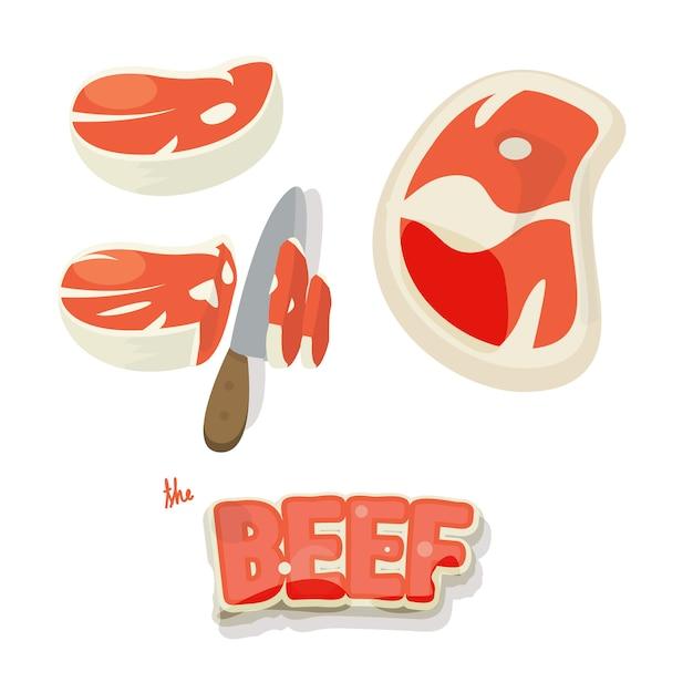 Rindfleisch set. stücke von rohem rindfleisch und slice im cartoon-stil. Premium Vektoren