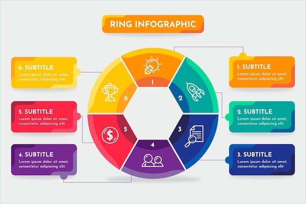 Ring infografik mit farben und text Kostenlosen Vektoren
