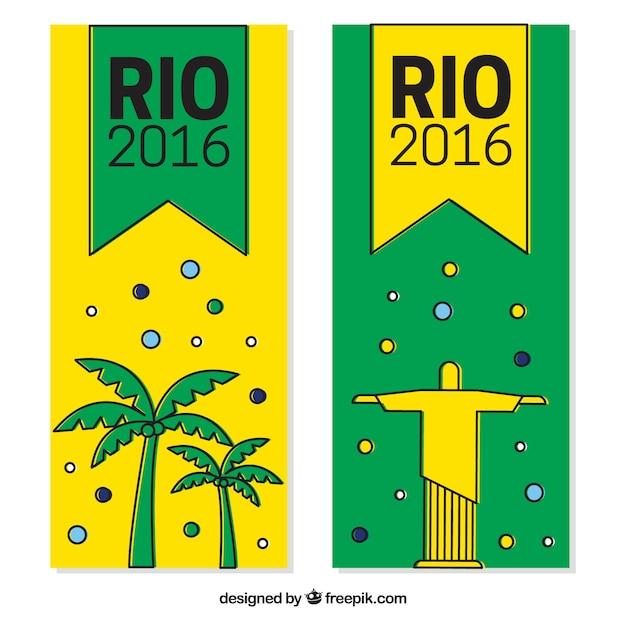 Rio 2916 banner mit christus, dem redemmer und palmen Kostenlosen Vektoren