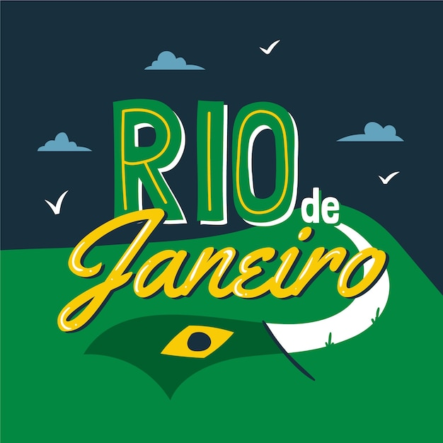 Rio de janeiro stadt schriftzug Kostenlosen Vektoren
