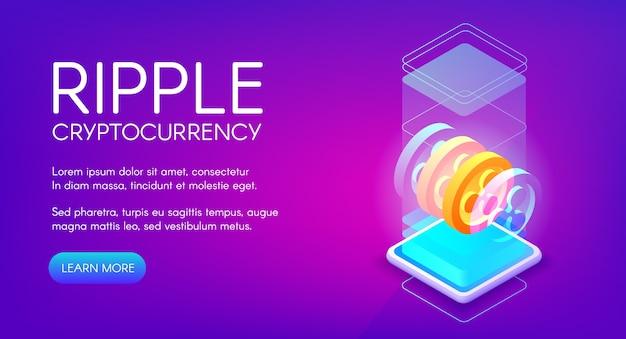 Ripple cryptocurrency illustration für peer-to-peer-blockchain und mining-farm-technologie. Kostenlosen Vektoren