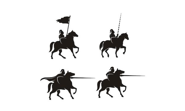 Ritter auf pferd logo design Premium Vektoren