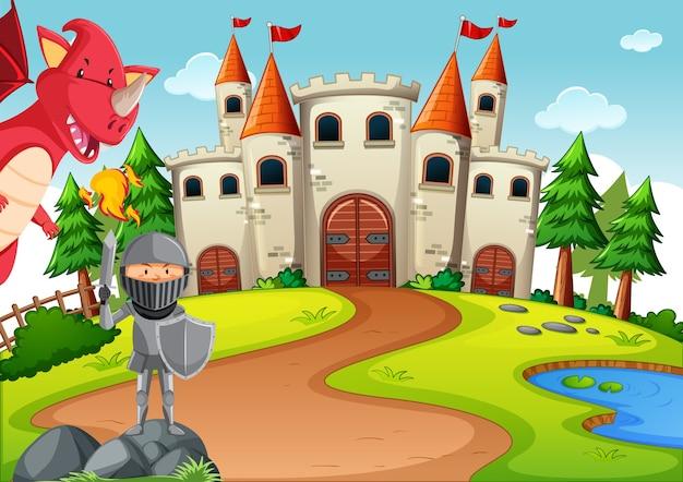 Ritter mit drachen in märchenhafter landszene Premium Vektoren